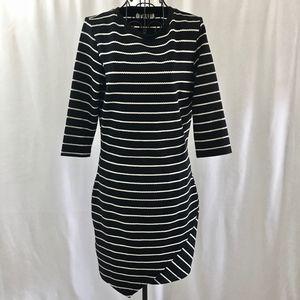 NWT Mango Striped Stretch Dress Textured Knit